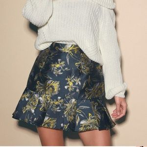 Lulus Navy Blue Floral Jacquard Trumpet Skirt. NEW